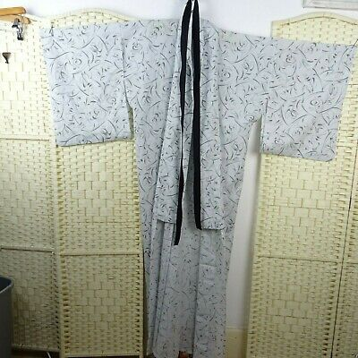 Vintage sheer Japanese kimono gown/robe costume long grey repaired OS K149