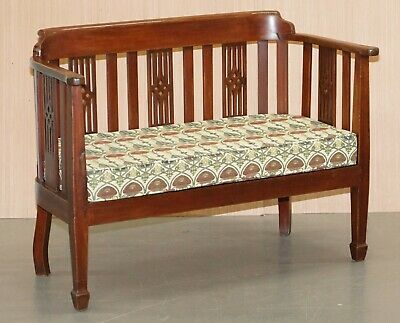 Charles Rennie Mackintosh Art Nouveau Upholstered Vintage Two Person Bench Sofa