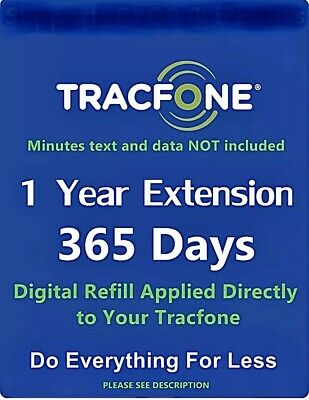 TracFone Service Extension 1 Year / 365 Days ONLY digital refill excluding BYOP