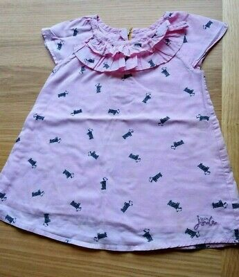 Girls Little Joules pink dog top size 4 years height 104cm