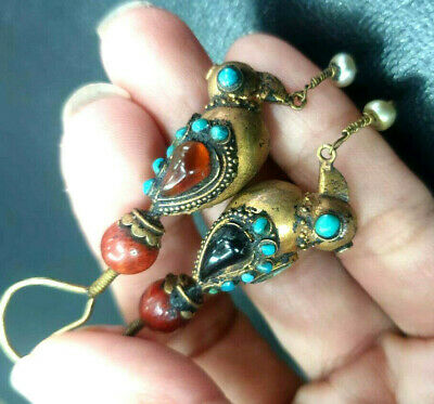 Ancient Solid 22K Gold Egyptian bird Holding Pearls Garnet Turquoise Earrings