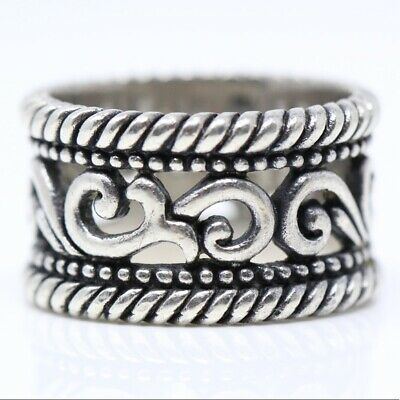 BRIGHTON Sterling Silver Braided Open Scroll Band Ring (size 7)