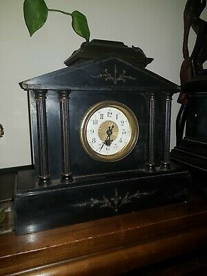 Old Heavy Slate Cased Not Working Ansonia Mantel Clock With Bronze Decoration