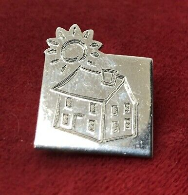 Vintage Sterling Silver Brooch Pin 925 House Sun