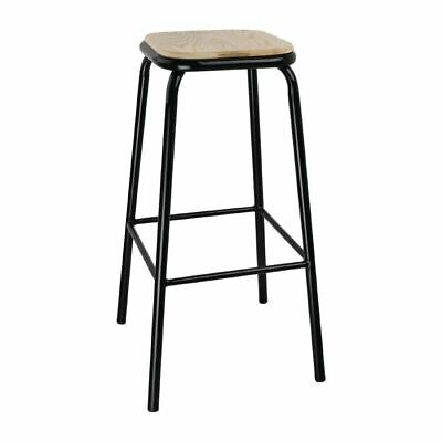 Bolero Cantina High Stools in Black with Wooden Seat Pad - Pack of 4