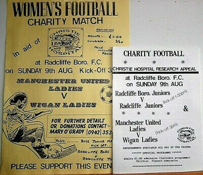 EARLY RARE MAN.UTD LADIES PROG.v WIGAN 1992,CHARITY MATCH,PLUS POSTER. EXC.COND.