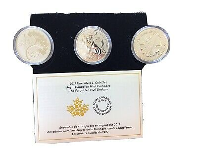 2017 The Forgotten 1927 Designs - RCM Coin Lore Set Of 3 Prf. 1oz. Silver .9999