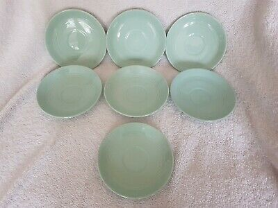 7 Vintage Art Deco Wood's Beryl Ware Green Saucers 1940's