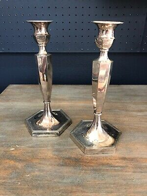 Pair 19th C Silverplate Over Copper Candlesticks