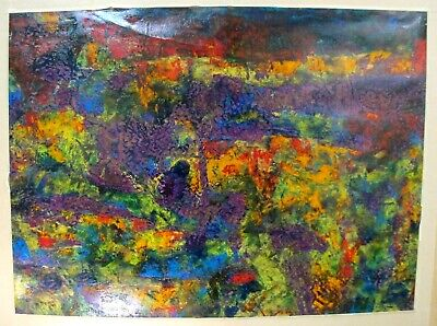 """HARRY VEMIJ Oil On Paper Abstract Painting Listed Dutch Artist 18"""" x 12"""""""