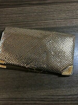 Gold Glowmesh  Vintage Ladies Wallet Long Many Sections  VGC