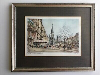 Color Etching Berlin Kurfuerstendam Germany By Wolfgang Tritt Framed 16' x 13""