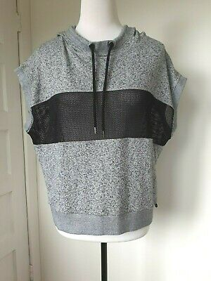LORNA JANE Uniquely black/grey fleck hooded cotton/poly top with mesh panels. M