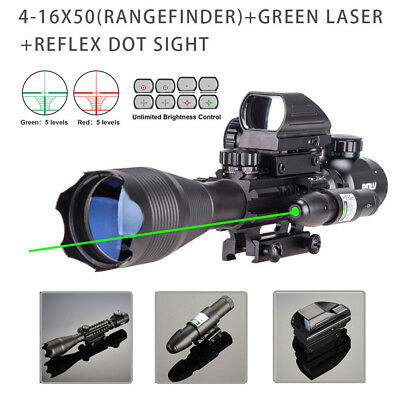 Pinty 4-16x50 Rangefinder Rifle Scope W/Green Laser & Red Green Dot Sight Scope