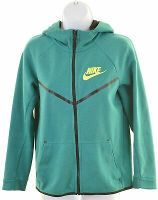 NIKE Girls Hoodie Sweater 12-13 Years Large Green Cotton  LS10