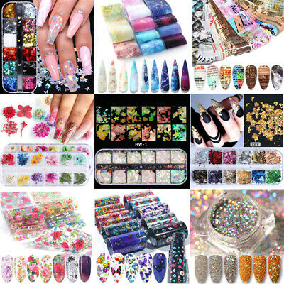 3D Nail Art Glitters Foils Stickers Flower Pattern Transfer Decals Decor DIY Lot