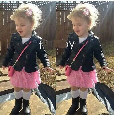 Girl's BOYS Black Faux Leather Warm Biker Jacket Coat Age 2 3 4 5 6 7 Y Hot 2020