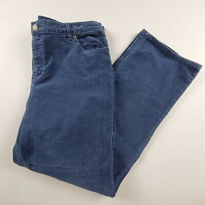 Charter Club Womens Corduroy Pants Sz 14P Blue Laura Fit High Waist Slacks