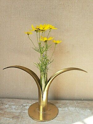 BRASS bud VASE w / glass insert ART and CRAFTS mission MID CENTURY modern
