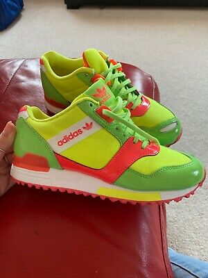 Adidas Lime Green Fluorescent 3 Stripes Trainers Size 4