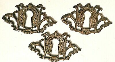 3 keyhole escutcheons ANTIQUE cast BRASS oak DRESSER furniture SALVAGE hardware