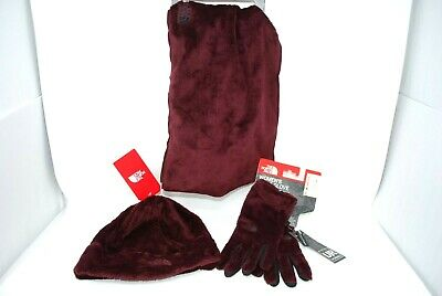TNF The North Face Osito Infinity Scarf Hat Gloves 3pc Set Deep Garnet NEW Tags