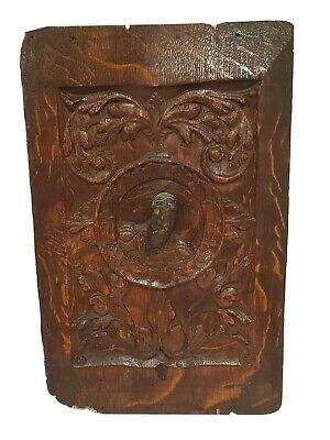 Antique Wooden Hand Carved Wood Panel Plaque Circa 1650s