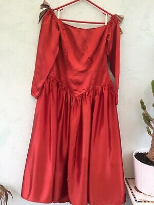Ladies Lined Medival Type Dress Size S Designed By Dreamers Tan With Floral Bows