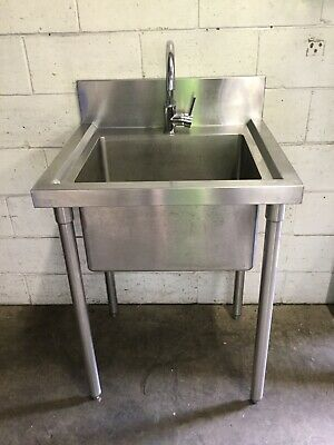 Commercial Cafe Restaurant Stainless Single Bowl Sink FREE FLIP TAP