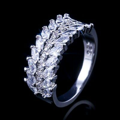 Charm Marquise Cut White Sapphire 925 Silver Rings Engagement Women Rings Size 9