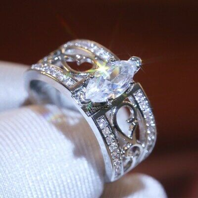Women 925 Silver Wedding Engagement Rings Marquise Cut White Sapphire Size 10