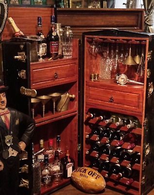 wine cabinet vintage Antique chest exclusive bar bag Trunk alcohol cupboard