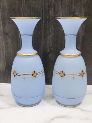 """PAIR Antique Blue Opaline French Enameled Glass Vases 12"""""""