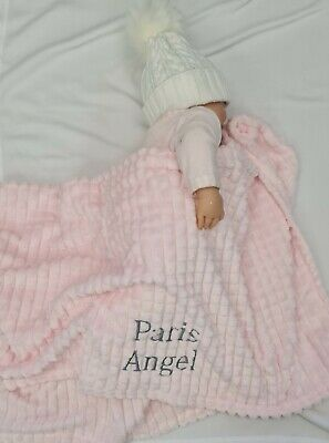 PERSONALISED  SQUARE WAFFLE super soft feel  embroidered blanket 4 colors