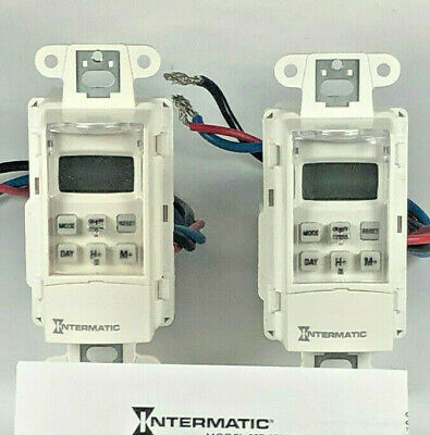Intermatic SS7 Digital 7 Day Wall Switch Timer 120V 15 Amps - White - QTY = 2