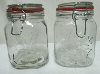 Anchor Hocking Snowman & Snowflake Canister Cookie Jar Christmas Glass Vtg Set 2