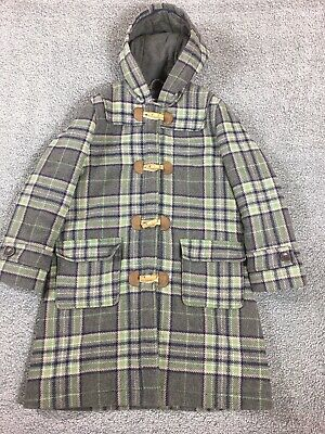 MINI BODEN Age 9 - 10 Girls Grey Green Check Hooded Duffle Style Coat 60% Wool