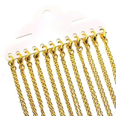 """12 or 72 BULK pcs Gold Plated Chain, 18"""", 18 inches Pre-made Chain - US Seller"""