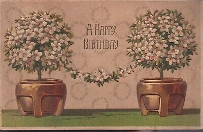 Birthday postcard made in Germany Antique 1900s blue glitter embossed