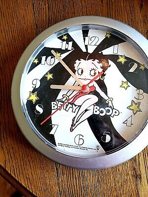 "2002 Betty Boop Wall Clock 8"" Battery Operated - red dress"