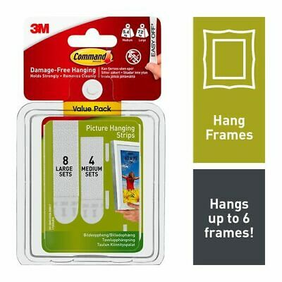 3M Command 17209 4x Medium & 8x Large Picture Hanging Strips Value Pack