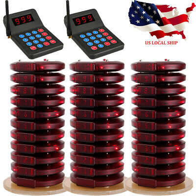Church Calling Restaurant Wireless Queuing System 2Transmitter+30*Coaster Pagers