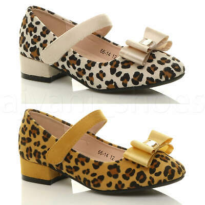 Girls Kids Childrens Low Heel Mary Jane Bow Strap Party Evening Shoes Size