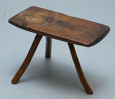 Stunning Circa 1800 Hand Made And Carved Primitive Three Legged Rectangle Stool