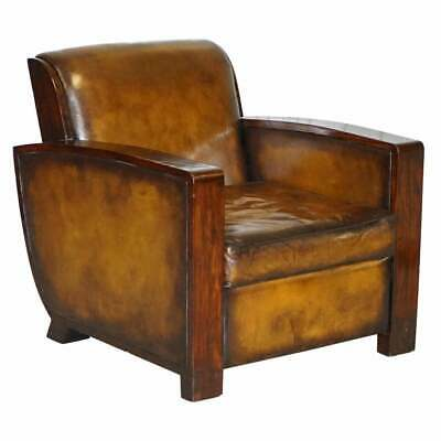 Stunning Cygal Art Deco Rosewood Ebony & Hand Dyed Brown Leather Club Armchair