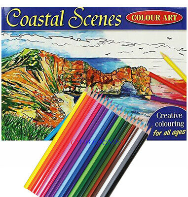 COASTAL SCENES MIND RELAXING COLOURING BOOK Adult Stress Relief Colour Therapy