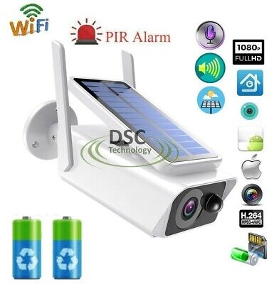 1080P Wireless Security IP Camera Rechargeable Battery Solar Powered Waterproof