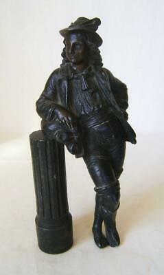 Victorian Spelter Figure, Man leaning on Column: Furniture or Clock Mount