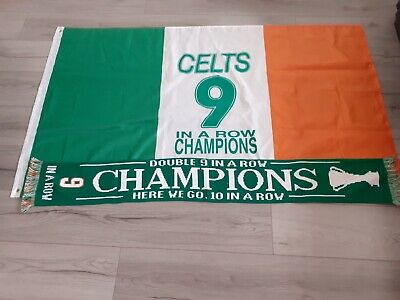 Celtic 9 In A Row Champions Scarf + Flag OFFER!!! 🍀🍀🍀🍀