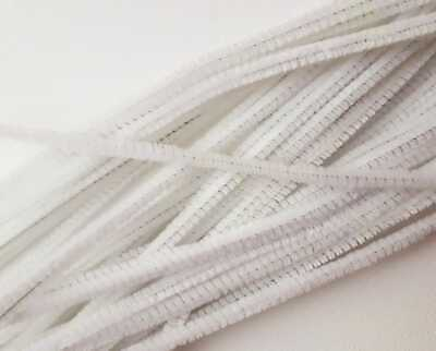 "8 White Pipe Cleaners 30cm 12"" Nose Wire For Face Masks Chenille Craft Stems UK"